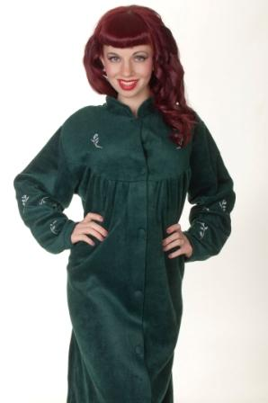 Button Up House Coat With Embroidery in Green