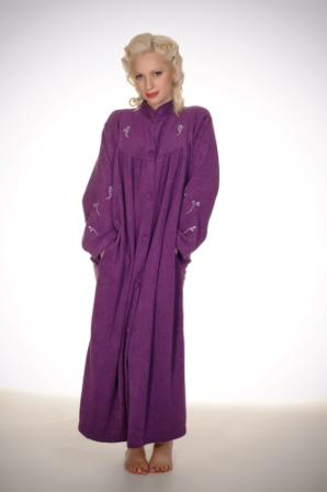 Button Up House Coat With Embroidery in Purple