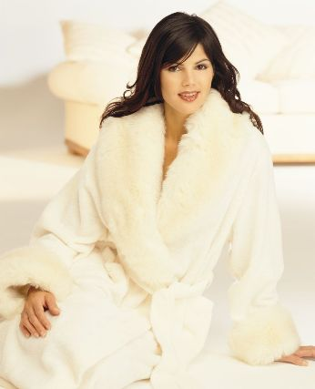 Luxurious Pure Cotton Chenille Dressing Gown With Faux Fur Collar