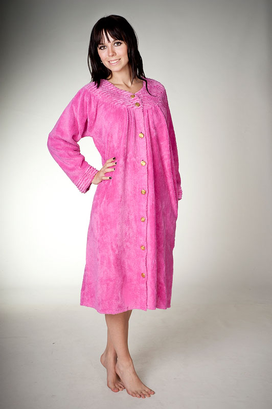 Button Up Chenille Dressing Gown in Fuchsia