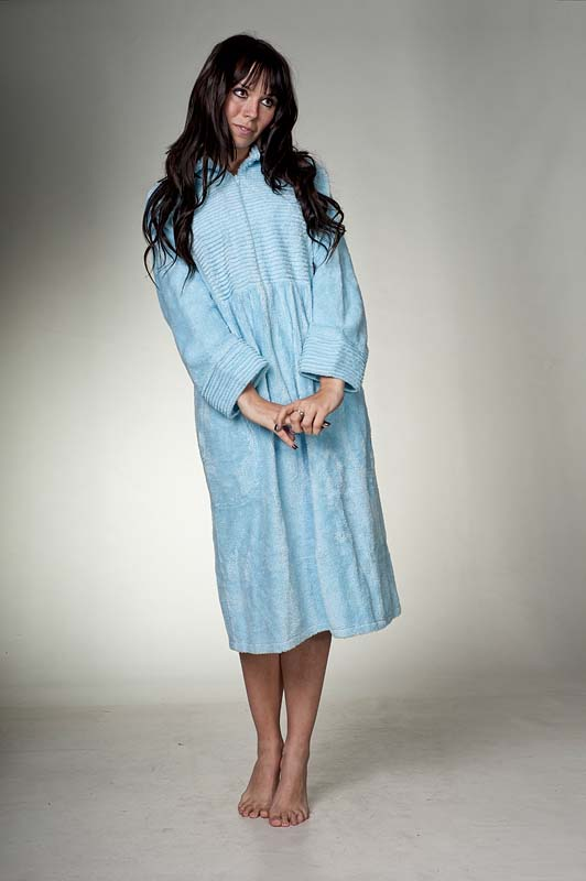 Zip Up Chenille Dressing Gown In Sky Blue